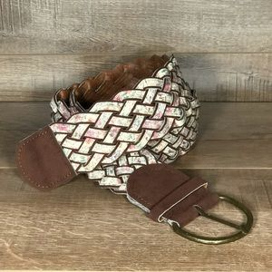 Women's Braided Hobo Calico Print Woven Belt